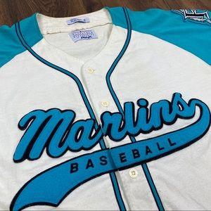 Vintage Florida Marlins Starter Jersey Button 90s
